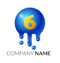 number six splash logo blue dots and bubbles vector image