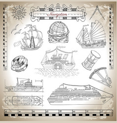 Old and modern ships vector