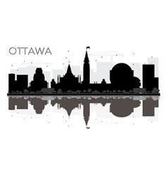 Ottawa city skyline black and white silhouette vector