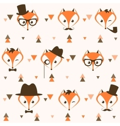 Pattern with hipster foxes and triangles vector