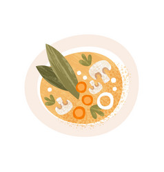 Plate of tasty soup with mushrooms and carrot top vector