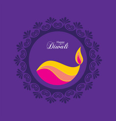 Poster for happy diwali with beautiful design vector