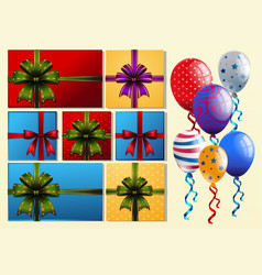 present boxes and colorful balloons vector image
