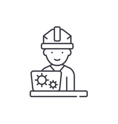 production engineer line icon concept production vector image