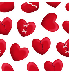 realistic detailed 3d red broken hearts seamless vector image
