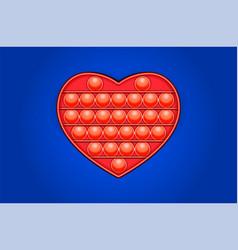 Red heart trendy pop it fidget toy on a empty vector
