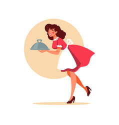 Retro waitress holding a plate plate in cartoon vector