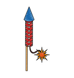 Rocket firework isolated scribble vector