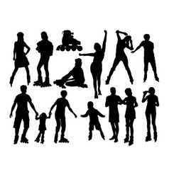 rollerskating silhouettes vector image