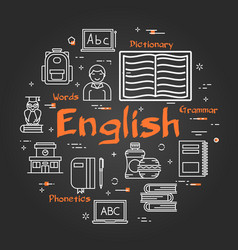 round english subject concept on black chalkboard vector image