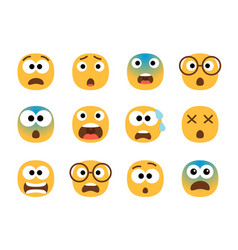 Scared emoticon faces vector