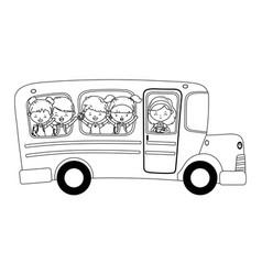 School bus and kids design vector