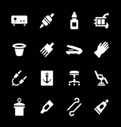 Set icons tattoo equipment and accessories vector