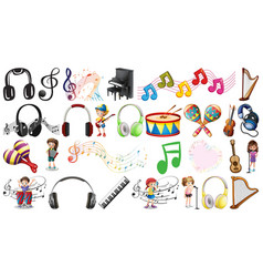 set musical objects vector image