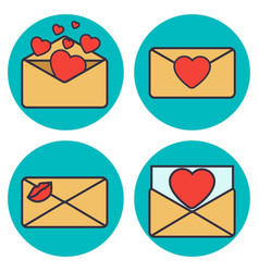 set of love letter envelope with heart vector image