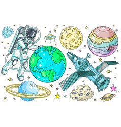 set space and planet icons vector image