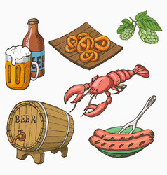 Sketch style set of beer and snacks vector