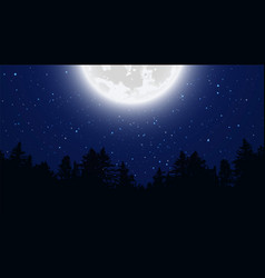 starry night sky full moon background vector image