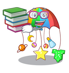 student with book baby playing with cartoon vector image