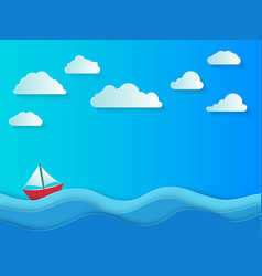 summer day with white clouds sea background in vector image