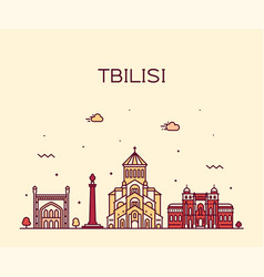 Tbilisi skyline georgia linear style city vector