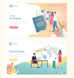 Traveling plane ticket and tourist web vector