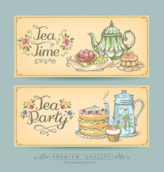 Vintage posters bakery and tea vector