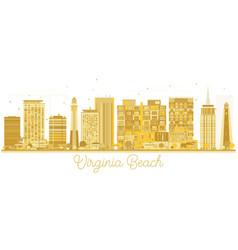 Virginia beach city skyline golden silhouette vector