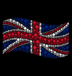 Waving great britain flag collage of arrow pointer vector