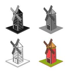 windmill single icon in cartoon stylewindmill vector image