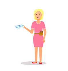 woman character wearing pink dress holding ticket vector image