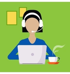 Woman With Hands Free And Lap Top Working vector