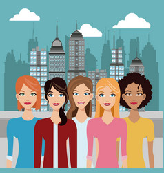 women young urban building background vector image