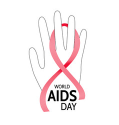 world aids day hand with abstract red ribbon vector image