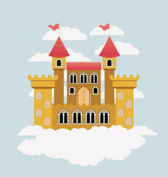 Yellow castle of fairy tales in sky surrounded by vector
