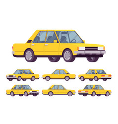 yellow sedan set vector image