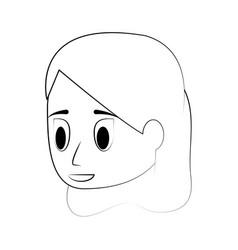 young woman face cartoon vector image