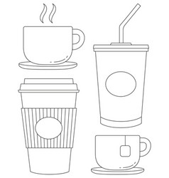 black and white drink icon set poster vector image vector image