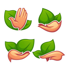 collection of cartoon ecological symbols and vector image vector image