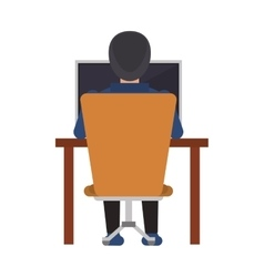 guy back working laptop chair desk vector image