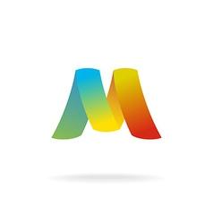 M letter logo template Colorful elegant ribbons vector image vector image
