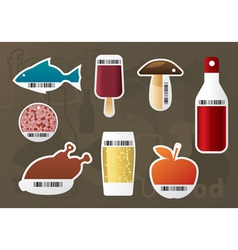 set of food stickers vector image vector image