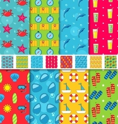 Set Seamless Patterns with Tourism Objects and vector image vector image