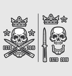 Skull with Crossed Flick Knives and Crown vector image vector image