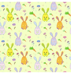 Stylish colorful seamless with rabbits vector image