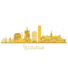 warsaw poland city skyline golden silhouette vector image vector image