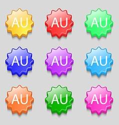 australia sign icon Symbols on nine wavy colourful vector image