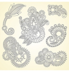 black flowers doodle design element vector image vector image