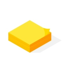 Isometric yellow sticker paper note vector image