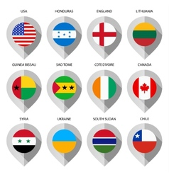 Marker from paper with flag for map - set eighth vector image
